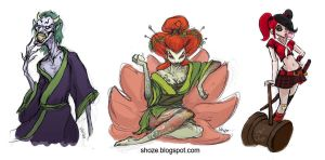 batman villains with Japanese twist by shoze