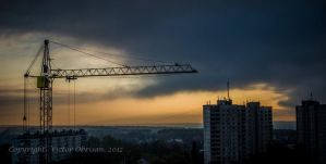 Crane and clouds by saltov-man