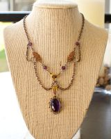 Amethyst Filligree and Crystals Necklace by CrystalKittyCat