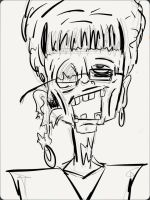 ''Mrs. Schoening: Zombie'' BEFORE COLOR by ENDYS-ART-HELL