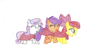 Cutie Mark Crusaders Pointillism by Wotato