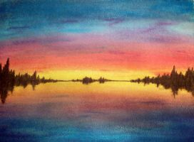 Sunset in Watercolor by cordria