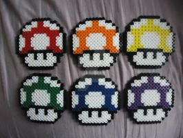 Rainbow Mario Mushrooms by PerlerHime