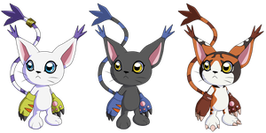 Tailmon and Black Tailmon and Mikemon 2015 by Deko-kun