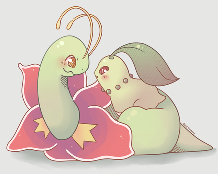 Meganium and Chikorita by SeviYummy