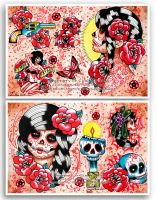 Day of the Dead Tattoo Flash Sheets by misscarissarose