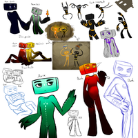 Endermen Sketchdump by Shrineheart