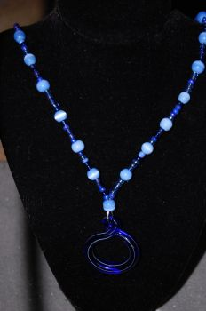 Blue Glass Pendant necklace by xmemoriesXofXnobodyx