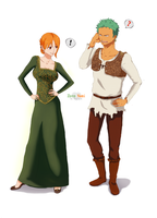 Zoro and Nami_like Shrek and Fiona_ by Ndargen