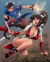 Chun Li vs Mai Shiranui Coloring by Adyon