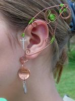 Goblin Inspired Elf Ear Wraps, copper, green, coin by jhammerberg