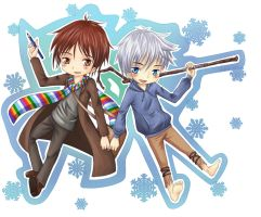 Jamie-Fabler and Jack Frost - chibi by Kane-Lavi