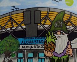 Hawaii Gnome Aloha Stadium Painted by sampson1721