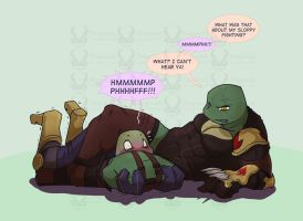 TMNT Commission - DonxRaph thighs by Dragona15