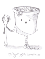 Mr.Yogurt and His Spoon Friend by UnderCoverCottonswab