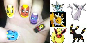 Eeveelution Nails by Chelseapoops