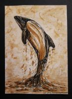 Commerson's dolphin ACEO- Coffee by jacij