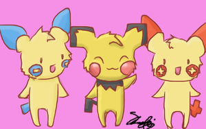 Pichu, Plusle, and Minun by Potatobadger