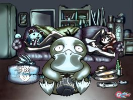 psyduck watching TV by Comic-Engine-Alex
