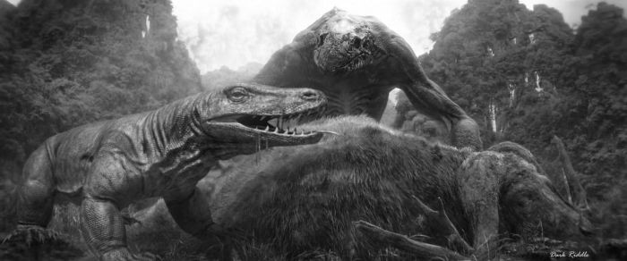 Skullcrawler VS Skull Island Megalania by darkriddle1