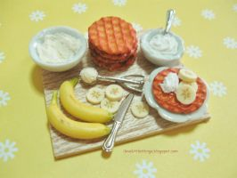 Dollhouse Miniature Fresh Cream Banana Waffles by ilovelittlethings
