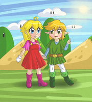 Gift: Apple Mario and Link Jr by Coco-of-the-Forest