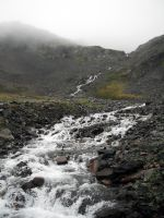 Crow's Pass Waterfall River 3 by prints-of-stock