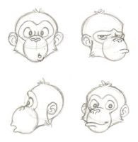 chimp face sketches by PixarVixen