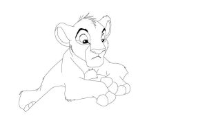simba cub lineart 12 by RinStrife