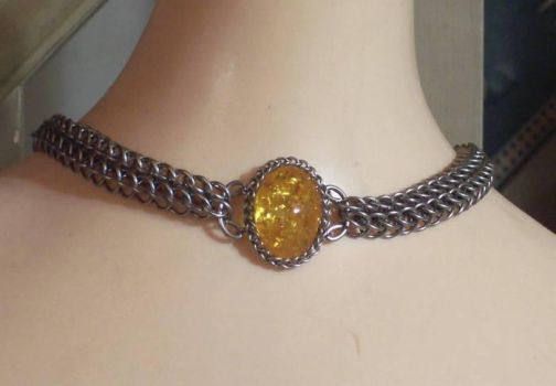 Wrapped Amber Maille Choker by hwkwlf
