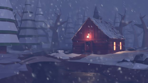 Winter cabin in the woods - Low poly by PeterPan-Syndrome