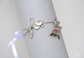 Butterfly and lilies upper arm cuff by IanirasArtifacts