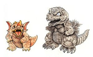SD Godzilla and Baragon by Amwuensch