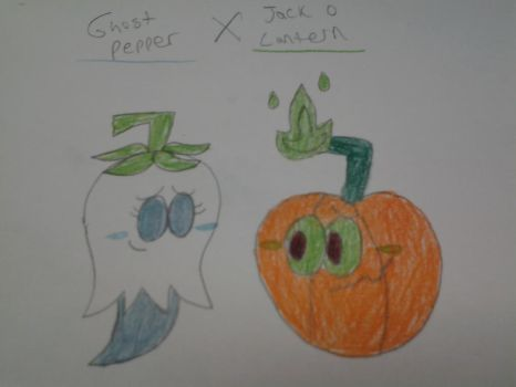 PvZ2 Couples: Ghost Pepper X Jack-o-Lantern by NeoverseMike