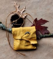 Coyote claw and deerskin pouch by lupagreenwolf