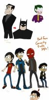Batfamily Gravity Falls style by UniqueInQ