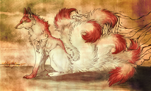 .:seven tails:. by WhiteSpiritWolf