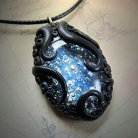 Tentacled Starry Glass Necklace by CthulhuJewellery