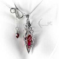 XARGNYR - silver, red quartz and garnet. by LUNARIEEN