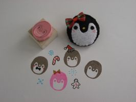 Holiday Penguin Brooch and Stamp Set by kneazlegurl125