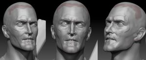 Ash Williams/Bruce Campbell (Evil Dead II) 3D WIP by FoxHound1984