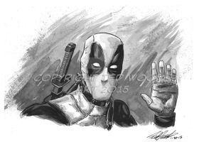 Headshot--Deadpool (Ryan Reynolds) by tedwoodsart