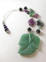 Aventurine Leaf Necklace by VioletRosePetals