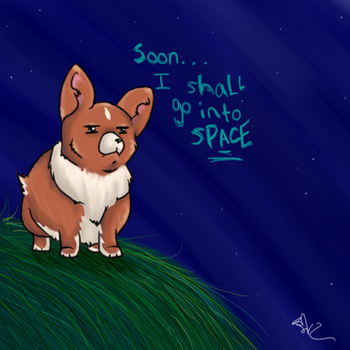 space corgi by SugarBonBonne