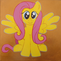 Fluttershy Painting by BrownWolfFM