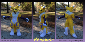 Renamon fursuit .Stance.- commission by NightTwilightWolf
