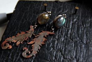 earrings silver sterling and copper by honeypunk