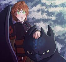Hiccup and Toothless by kronoshooko