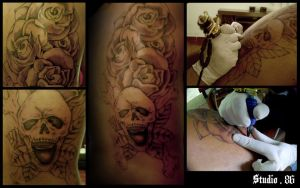 Roses and Skull by RiversStudio86