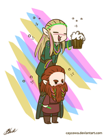 LOTR - Party Legolas and Gimili by caycowa